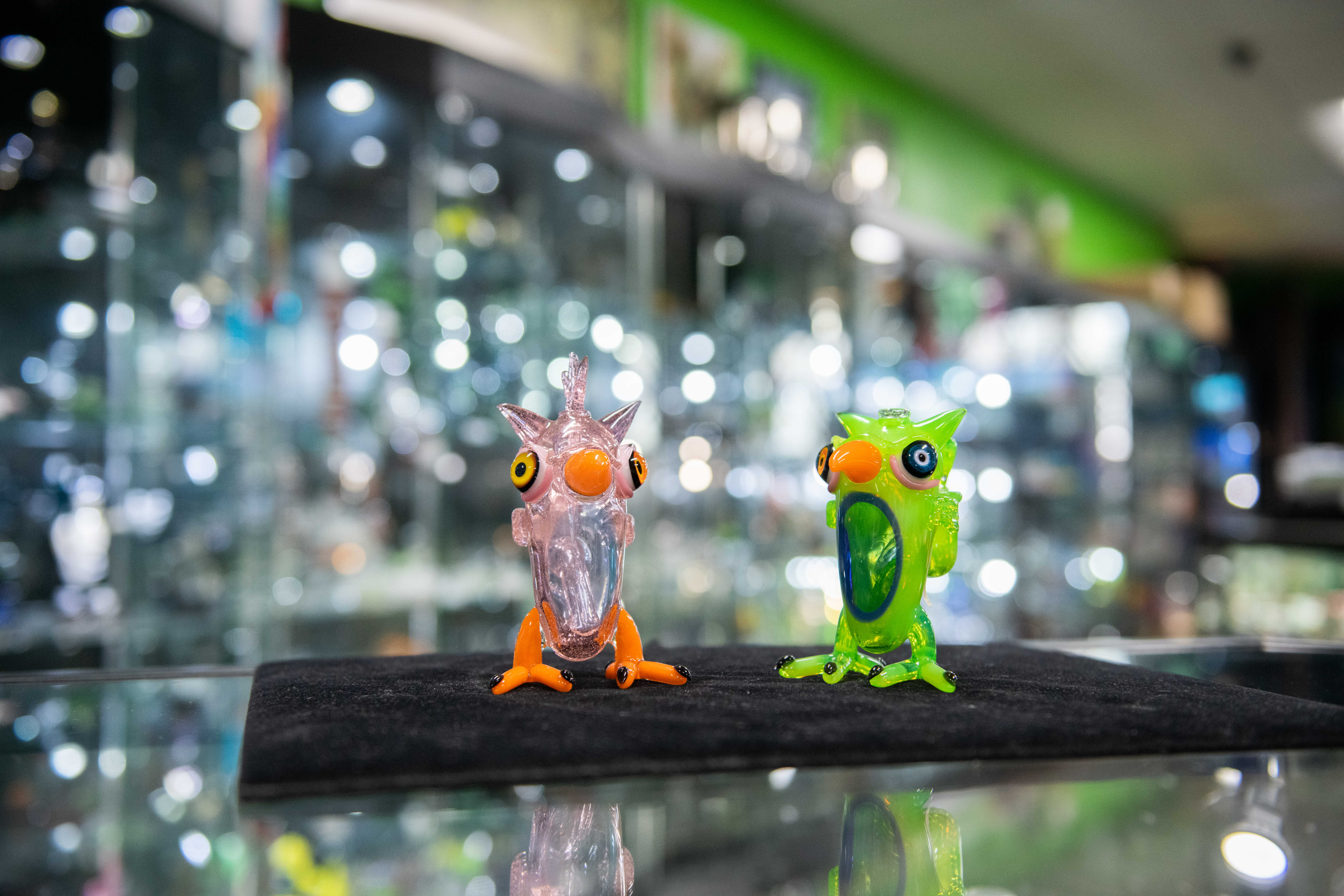 two glass owls from Kind Creations
