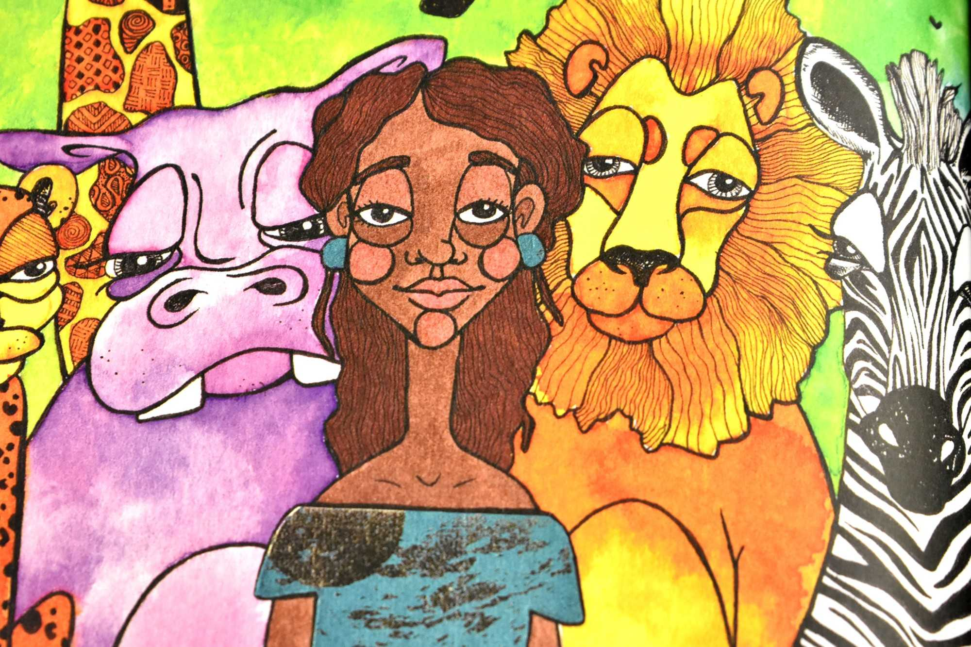 brightly colored illustrations of a brown-skinned girl, pink hippo, orange lion, and zebra