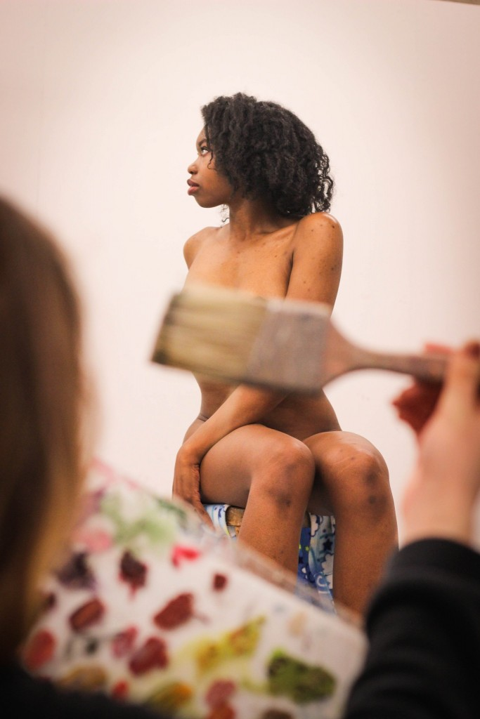 Jasmine Winfrey demonstrates one of the poses she utilizes during class. Winfrey models regularly for the art department at CSU.